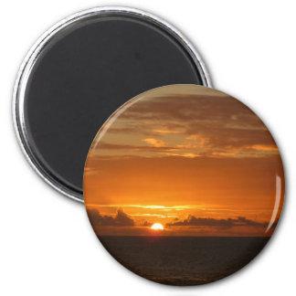 Sonnenuntergang tropischen orange Meerblick am Runder Magnet 5,7 Cm