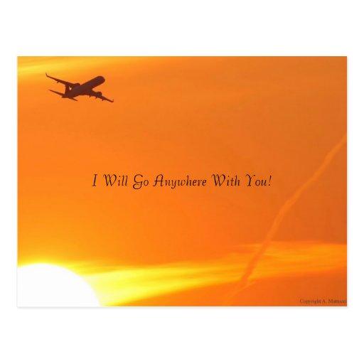 Sonnenuntergang u. Flugzeug-Postkarte
