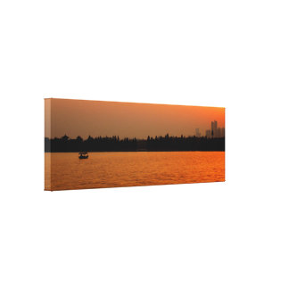 Sonnenuntergang über dem See Leinwanddruck