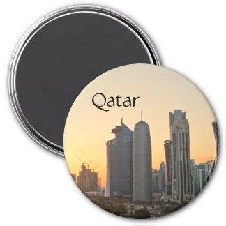 Sonnenuntergang über Doha, Qatar Magnet mit Text