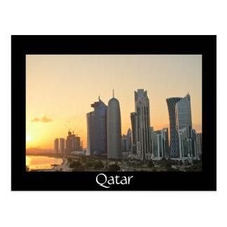 Sonnenuntergang über Doha, Qatar schwarze Postkarte