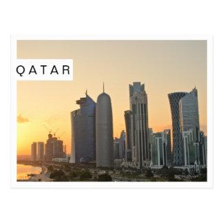 Sonnenuntergang über Doha, Qatar weiße Postkarte