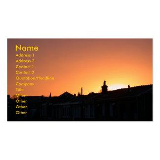 Sonnenuntergang über Gebäude Visitenkarten
