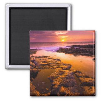Sonnenuntergang über Gezeitenpools, Hawaii Quadratischer Magnet