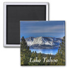 Sonnenuntergang über Magneten Lake Tahoe Quadratischer Magnet