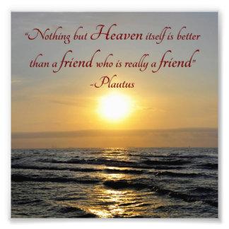 Sonnenuntergang über Ozean-Freundschafts-Zitat-Qua Photodrucke