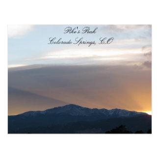 Sonnenuntergang über Pikes Spitze Postkarte