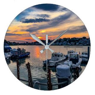 Sonnenuntergang über Rumpf-Hafen Große Wanduhr