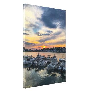 Sonnenuntergang über Rumpf-Hafen Leinwanddruck