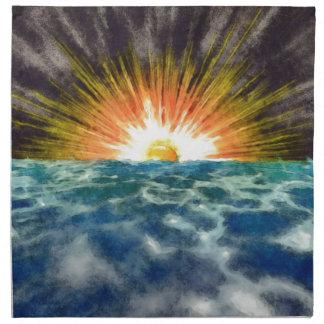 Sonnenuntergang über Wasser Stoffserviette