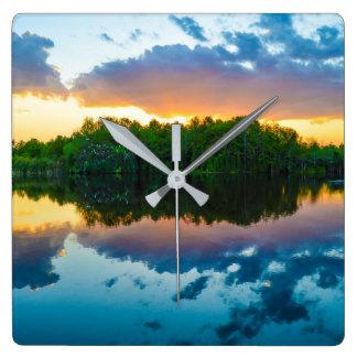 Sonnenuntergang-Uhr von PhotosfromFlorida Quadratische Wanduhr
