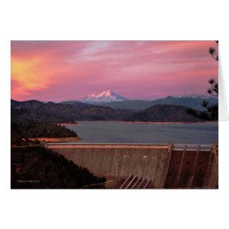 Sonnenuntergang und Mt. Shasta Notecard Karte