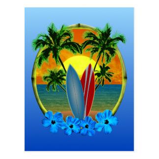 Sonnenuntergang und Surfbretter Postkarte