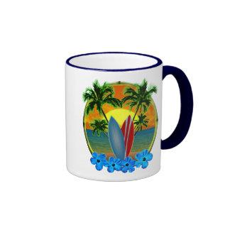 Sonnenuntergang und Surfbretter Kaffee Tassen
