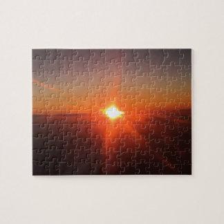 Sonnenuntergang von einem Flugzeug-Puzzlespiel Puzzle