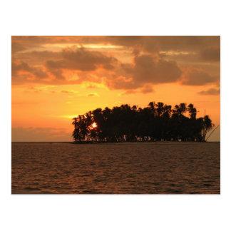 Sonnenuntergang, w-Coco Banderos, Kuna Yala, Postkarte