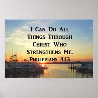 SONNENUNTERGANGphilippians-4:13 SCHRIFTS-ENTWURF Poster