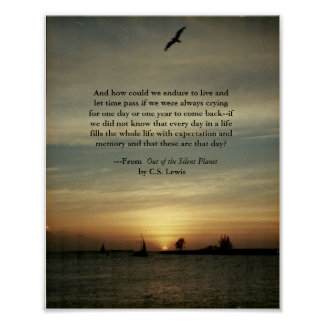 Sonnenuntergangplakat mit C.S.Lewis Zitat Poster