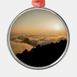Sonnenuntergangszene in einem China-Huang-Berg Silbernes Ornament