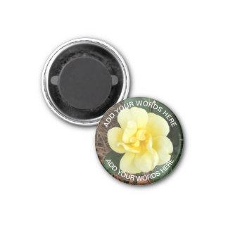 Sonnig klopfen Sie heraus Rose: Personalisierter Runder Magnet 3,2 Cm