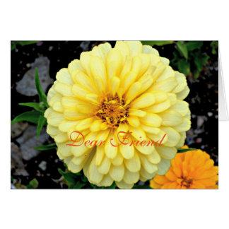 Sonnige gelbe Zinnia-Blumen-lieber Freund Karte