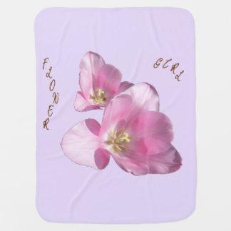 Sonnige rosa Tulpe-Blumen-Mädchen-Decke Babydecke