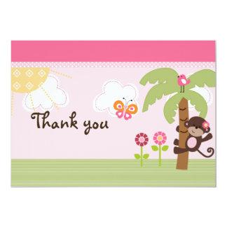 Sonnige Safari-Mädchen-Affe-Babyparty danken Ihnen 12,7 X 17,8 Cm Einladungskarte