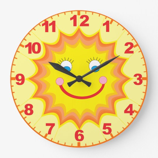 sunny clock with numbers gro e wanduhr zazzle. Black Bedroom Furniture Sets. Home Design Ideas