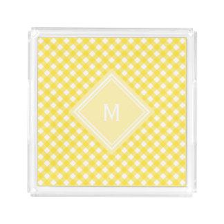 Sonniger gelber Gingham mit Diamant-Monogramm Acryl Tablett