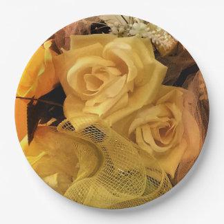 Sonniger gelber Rosen-Papier-Teller Pappteller