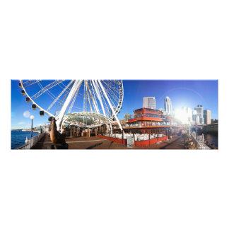 Sonniger Pier u. das große Rad | 36x12 Seattles WA Fotodruck