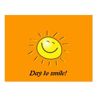 Sonniger Tag, lächelnde Sonne, Tag zum zu lächeln! Postkarte