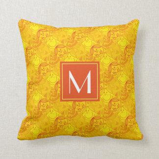 Sonniges gelbes Monogramm des Muster-| Kissen
