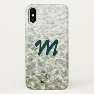 Sonniges Wasser mit Monogramm iPhone X Hülle