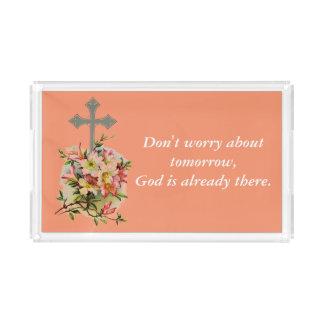 Sorgen Sie sich nicht Blumen-Kreuz des Acryl Tablett