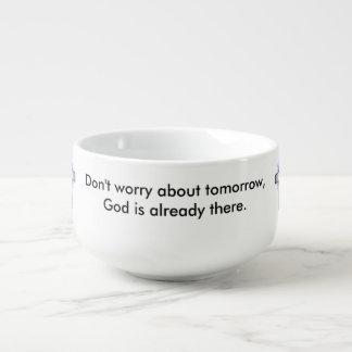 Sorgen Sie sich nicht Suppen-Tasse w/Blue sich Große Suppentasse