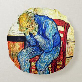 Sorrowing alter Mann durch Van Gogh Rundes Kissen