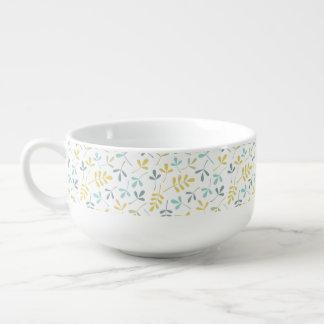 Sortierte Blätter-Muster-Farbmischung auf Weiß Große Suppentasse