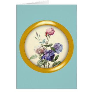Sortierte Vintage Blumen und metallischer Karte