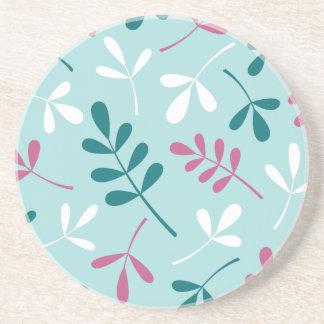 Sortierter Blätter-Knickenten-weißer rosa Entwurf Sandstein Untersetzer