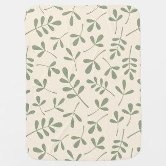 Sortiertes Grün-Blätter auf Sahnemuster Babydecke