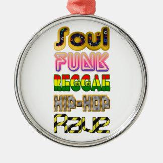 Soul, Funk, Reggae, Angesagt-Hopfen, Rave Silbernes Ornament