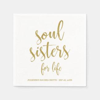Soul-Schwestern für Leben-Glitter Bachelorette Papierservietten