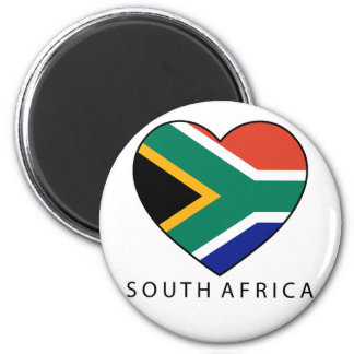 South Africa Heart with black SOUTH AFRICA Runder Magnet 5,7 Cm