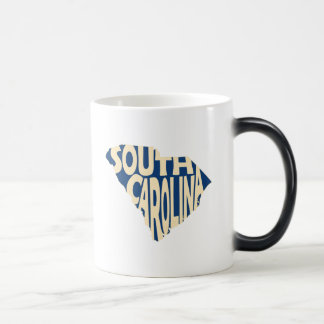 South- CarolinaStaats-Namen-Wort-Kunst-Gelb Verwandlungstasse