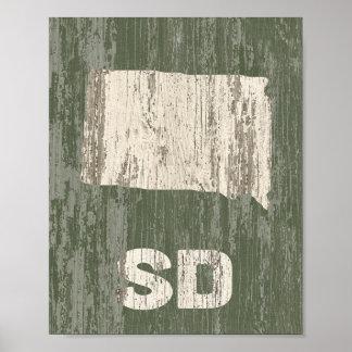 South- Dakotaplakat-rustikaler hölzerner Poster