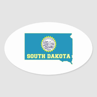 South- DakotaStaats-Flagge und Karte Ovaler Aufkleber