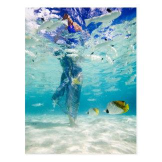 South Pacific, Bora Bora, weibliches touristisches Postkarte