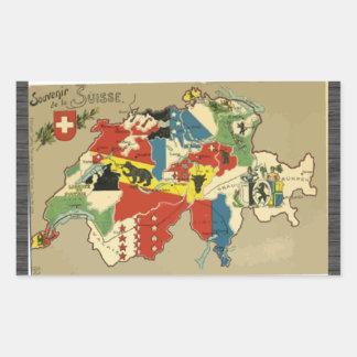 Souvenir De La Suisse, Vintag Rechteckiger Aufkleber