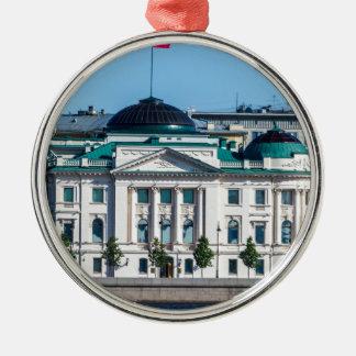 Sowjet-Ära Büro-Gebäude Rundes Silberfarbenes Ornament